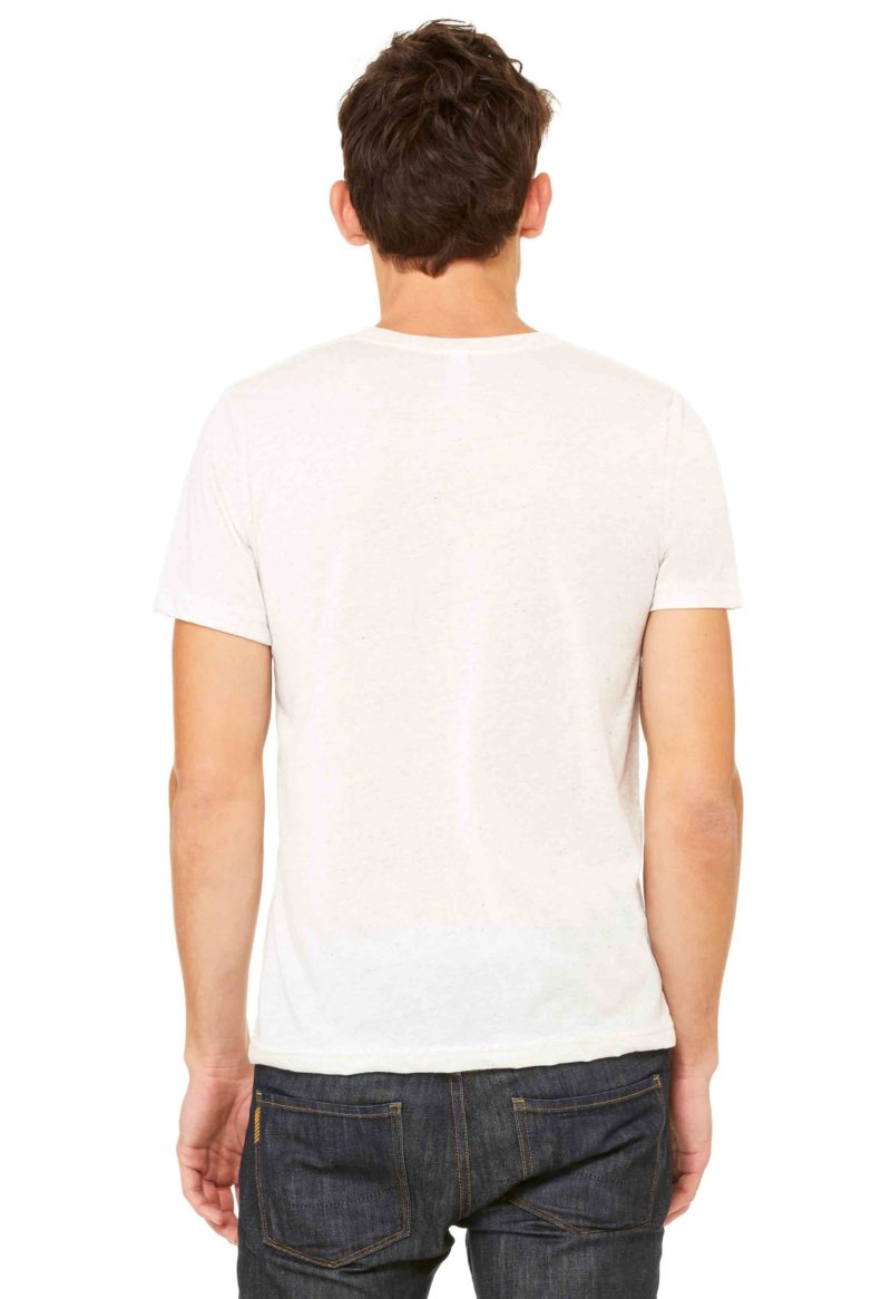 Dre wears the eight 8 limbs graphic on a bella canvas triblend super soft tee shirt back view