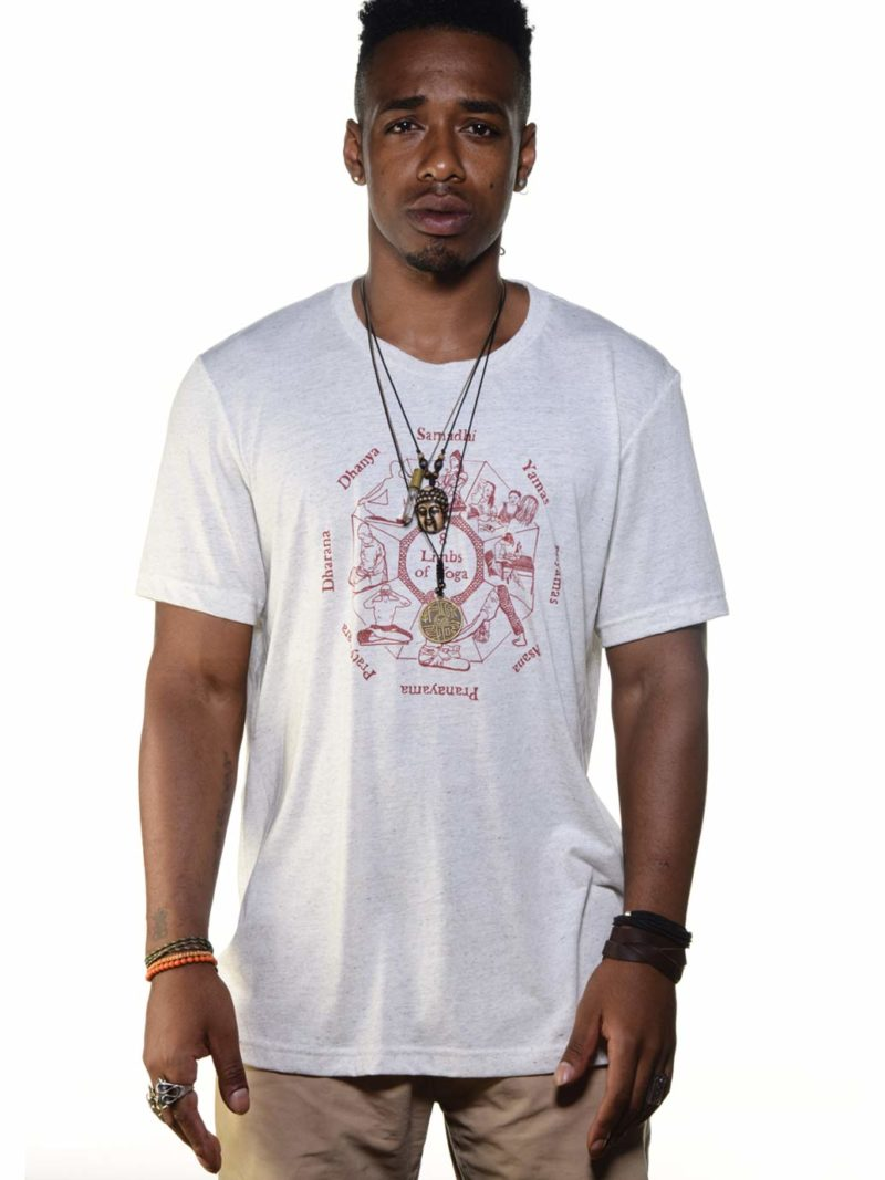 Dre wears the eight 8 limbs graphic on a bella canvas triblend super soft tee shirt