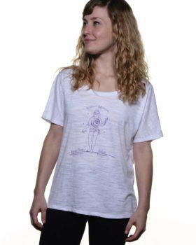 Rhea wearing Shopian Mysticism white slouchy yoga tee shirt front view