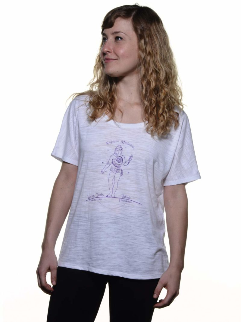 Rhea wearing Shopian Mysticism white slouchy yoga tee shirt front view