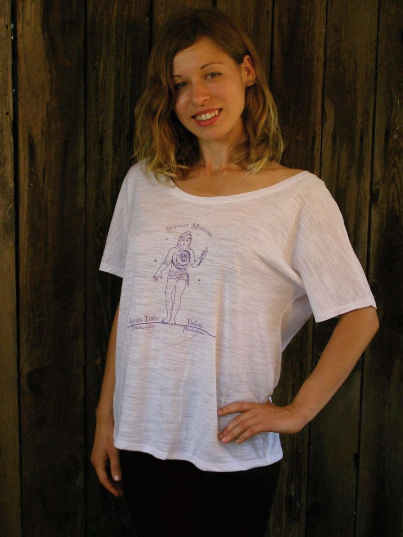 Ksenia wearing Shopian Mysticism white slouchy yoga tee shirt front view